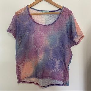 Maurices Sheer Watercolor Tie Dye Knit Top